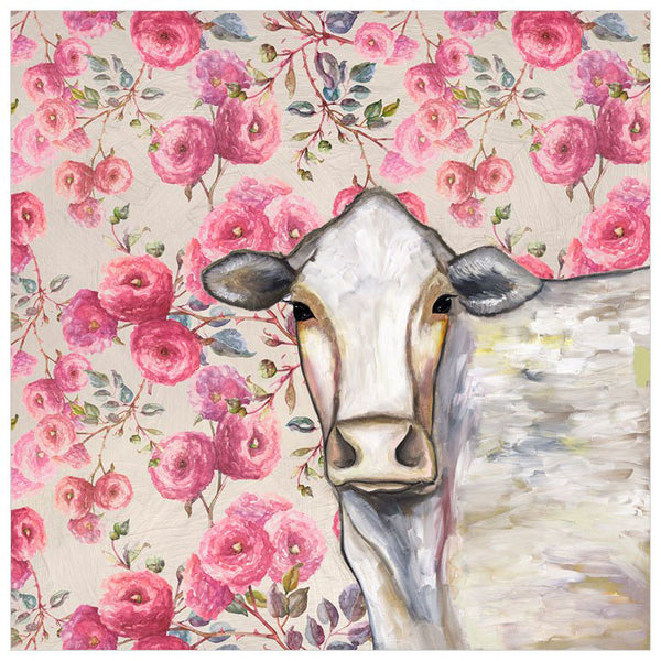 Cow Floral - Signed Large Giclée Canvas Print For Austin Tx Delivery Only