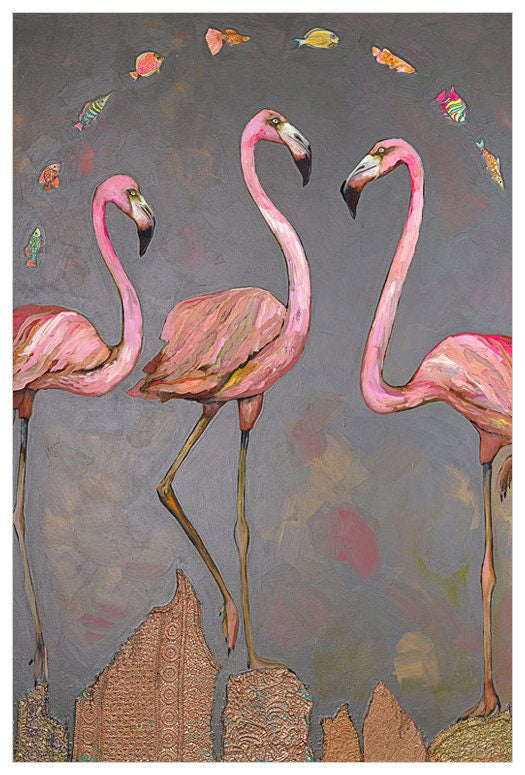 Flamingos and Fish - Giclée Print