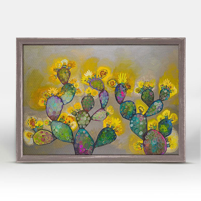 "Blooming Prickly Pears Yellow and Gray Mini Print 7"" x 5"""
