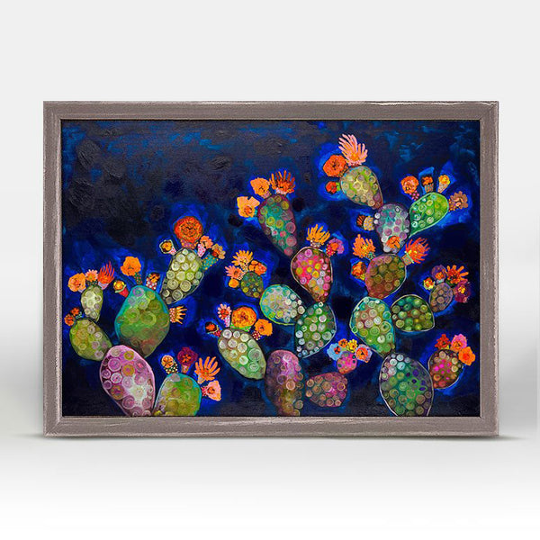 "Blooming Prickly Pears Orange and Blue Mini Print 7"" x 5"""