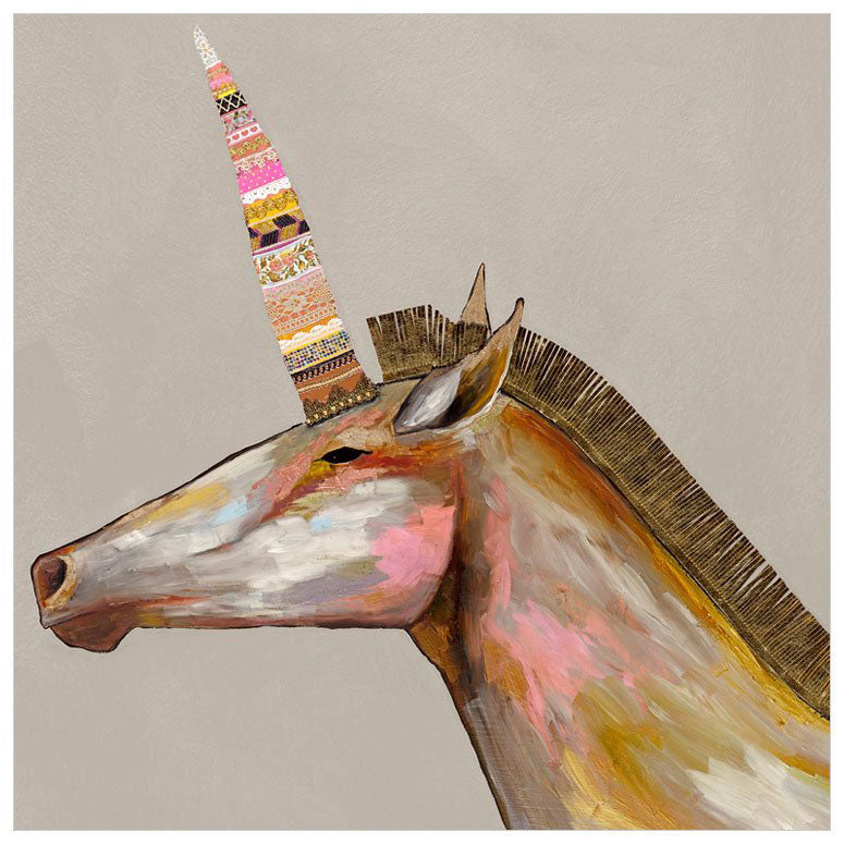 Unicorn With Leather Mane in Champagne - Giclée Print