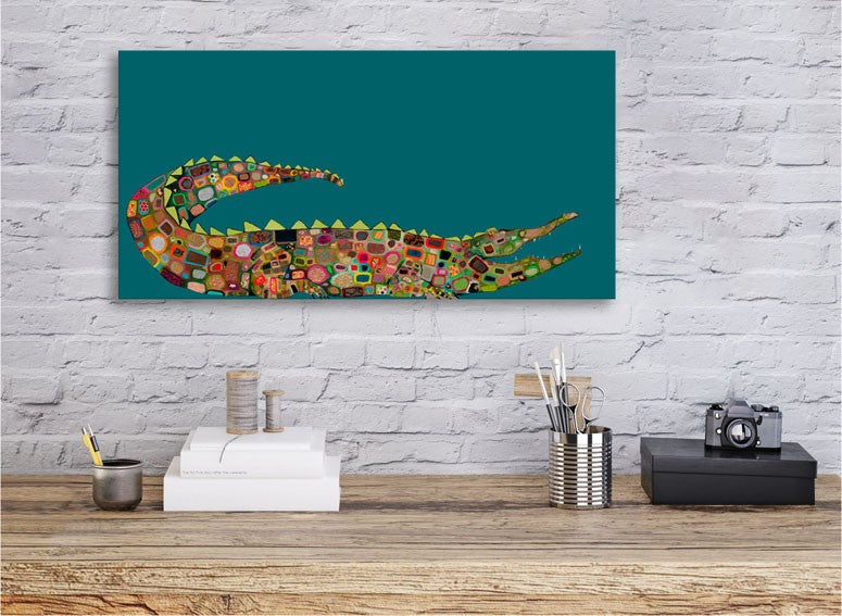 Crocodile on Teal - Giclée Print