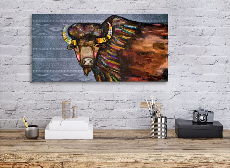 Crowned Bison in Tribal Blue- Giclée Print