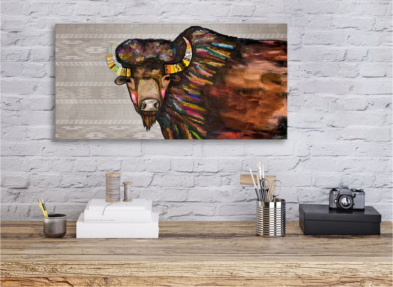 Crowned Bison in Tribal Cream - Giclée Print