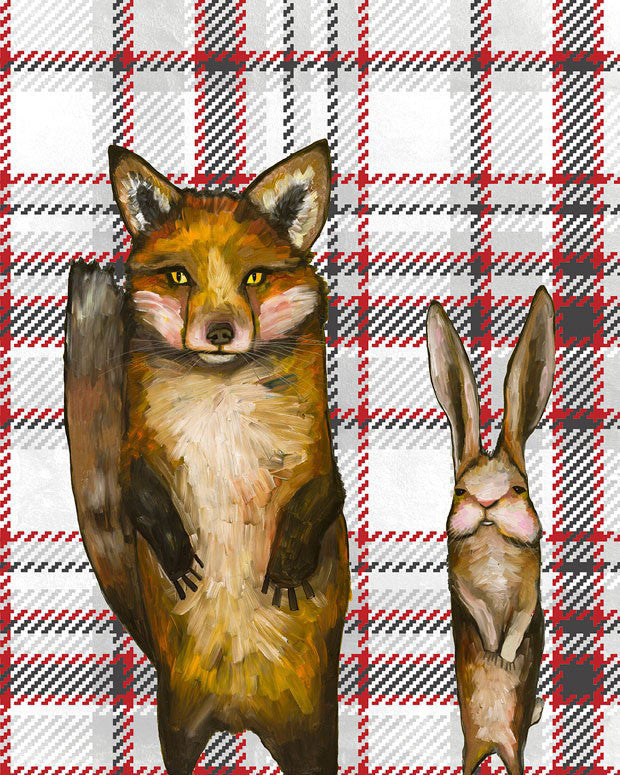Fox and Rabbit Wedding Day on Tartan - Giclée Print