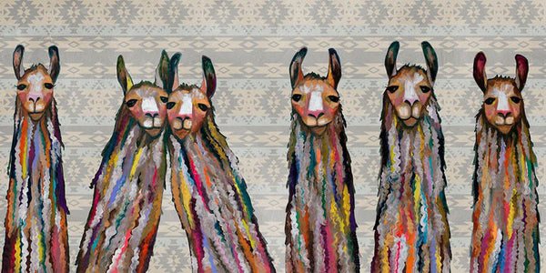 Six Lively Llamas Tribal - Giclée Print