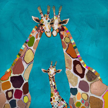 Giraffe Family in Turquoise - Giclée Print