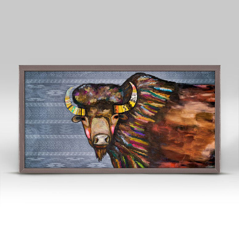 "Crowned Bison Tribal Blue Mini Print 10"" x 5"""