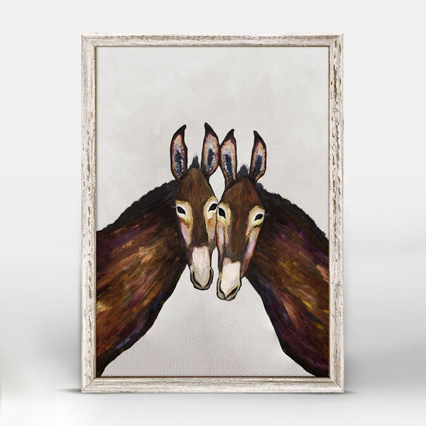 "Donkey Duo Soft Pewter Mini Print 5"" x 7"""
