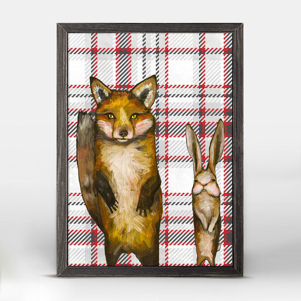 "Fox and Rabbit Tartan Mini Print 5"" x 7"""