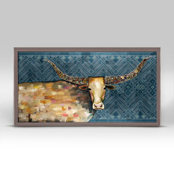 "Longhorn Geode - Tribal Blue - Mini Print 10"" x 5"""