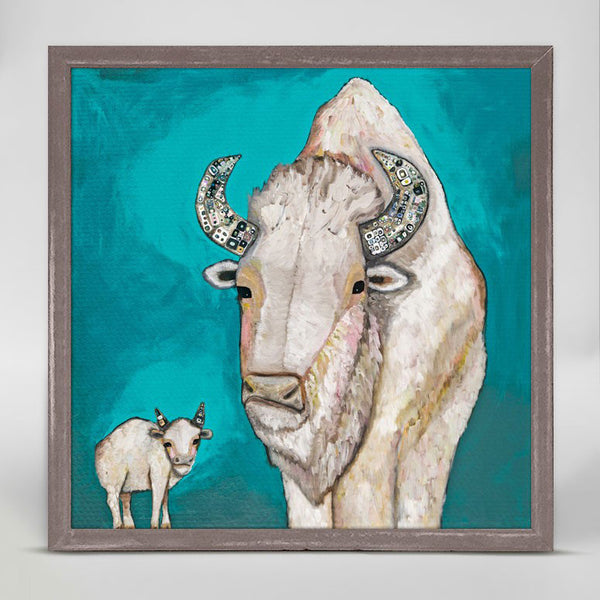 "White Buffalo Calf Signed Mini Print 6"" x 6"""