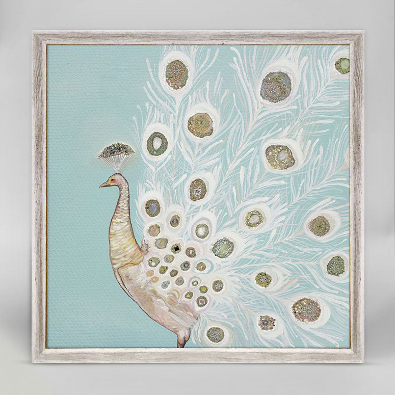 "Jeweled White Peacock Mini Print 6"" x 6"""