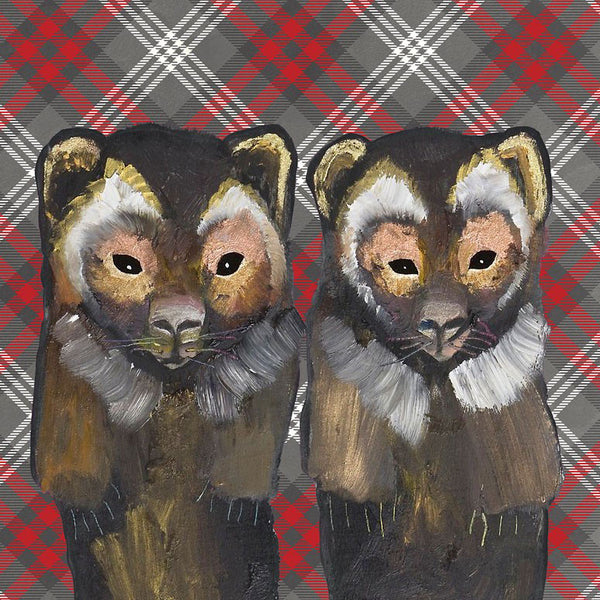 Pair of Wolverines on Tartan - Giclée Print