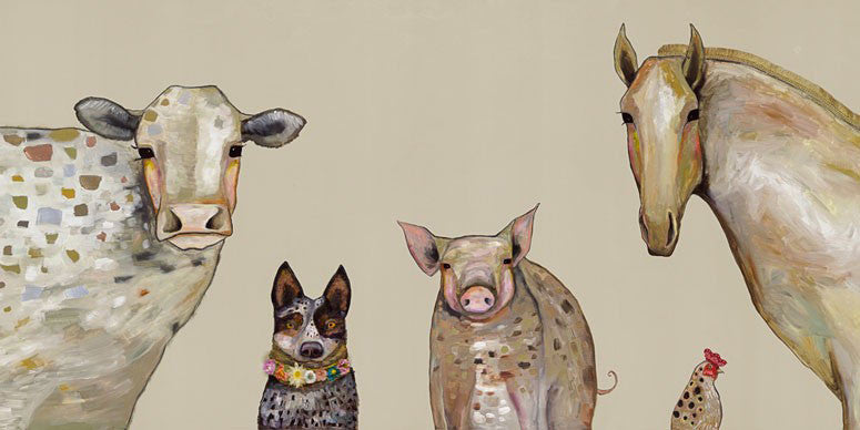 Cattle Dog and Crew in Oatmeal - Giclée Print