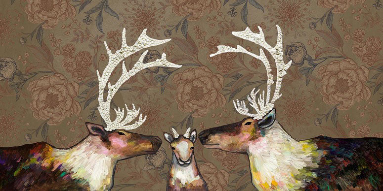 Caribou Family in Floral Wallpaper - Giclée Print