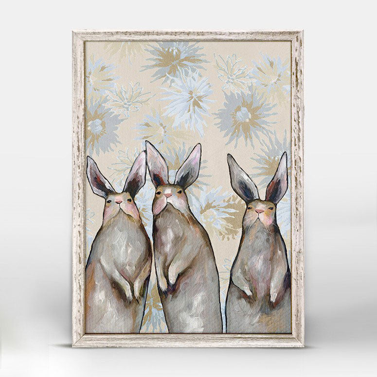 "Three Standing Rabbits Floral Mini Print 5"" x 10"""