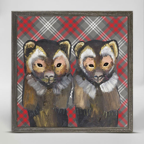 "Wolverines in Tartan Mini Print 6"" x 6"""