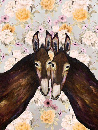 Donkey Duo Floral - Giclée Print