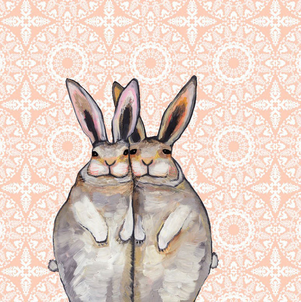 Cuddle Bunnies in a Lace Blanket - Giclée Print