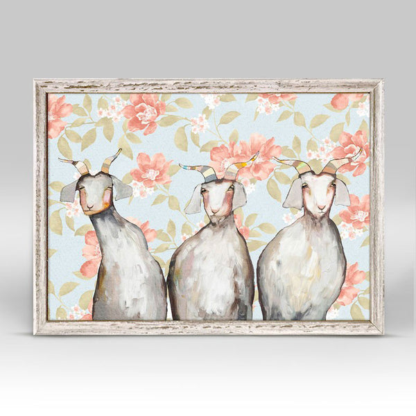 "Trio of Goats Floral Mini Print 7"" x 5"""