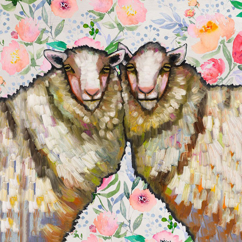 Sheep Duo Floral - Giclée Print