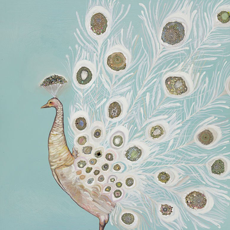 Jeweled White Peacock - Giclée Print