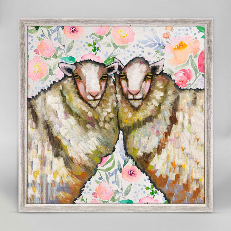"Sheep Duo Floral Mini Print 6"" x 6"""