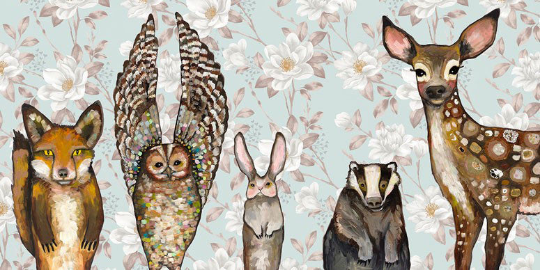 Forest Animals Floral - Giclée Print