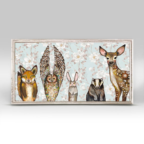 "Forest Animals - Floral Mini Print 10"" x 5"""
