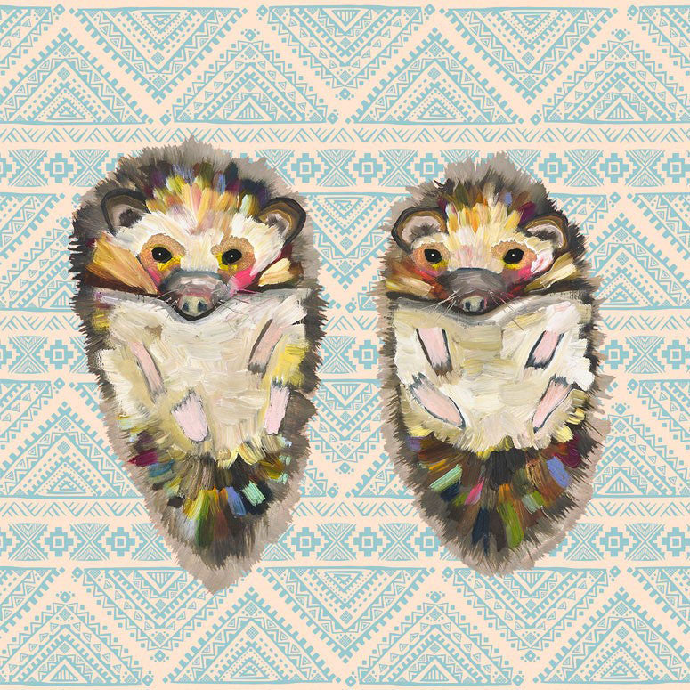 Hedgehog Duo On Bohemian Pattern - Giclée Print
