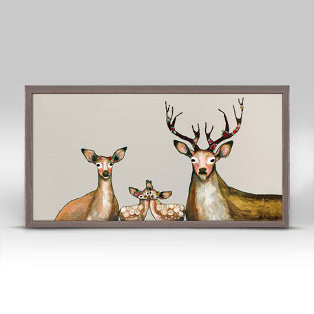 "Flower Deer Family on Cream Mini Print 10"" x 5"""