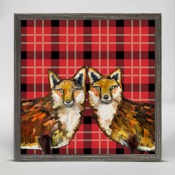 "Fox Duo - Tartan Mini Print 6"" x 6"""