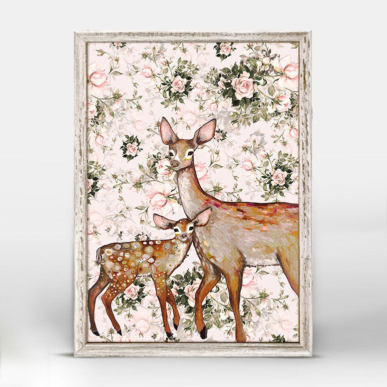 "Deer With Fawn Floral Mini Print 5"" x 7"""