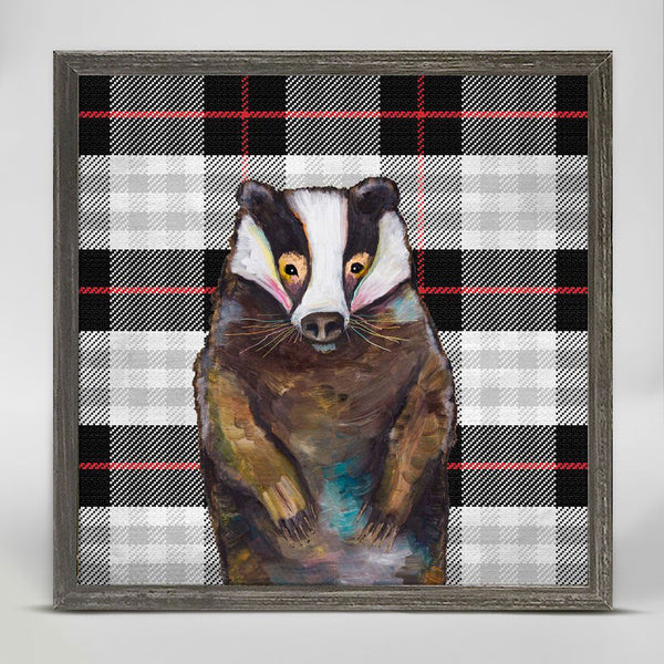 "Badger in Tartan Mini Print 6"" x 6"""