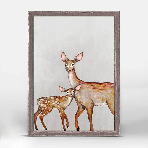 "Deer with Fawn Soft Pewter Mini Print 5"" x 7"""
