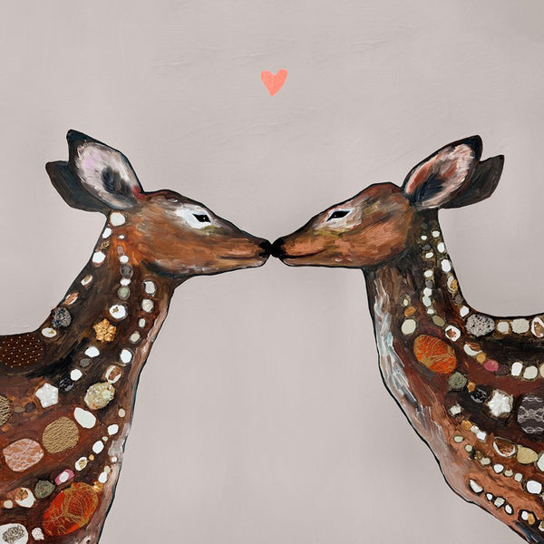 Deer Love Heart Neutral - Giclée Print