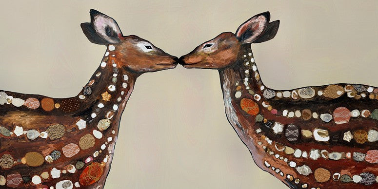 Deer Love on Cream - Giclée Print