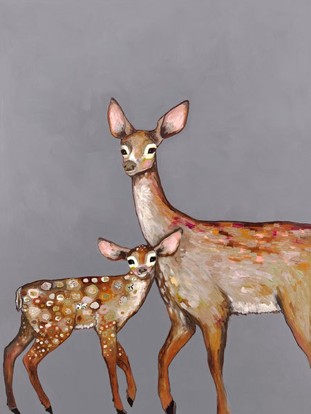 Deer with Fawn Grey - Giclée Print