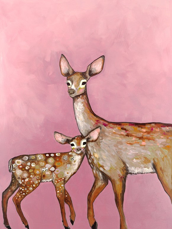Deer with Fawn Pink - Giclée Print