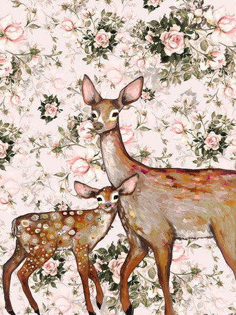 Deer with Fawn Floral - Giclée Print
