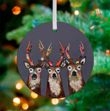 Designer Deer Ceramic Ornament