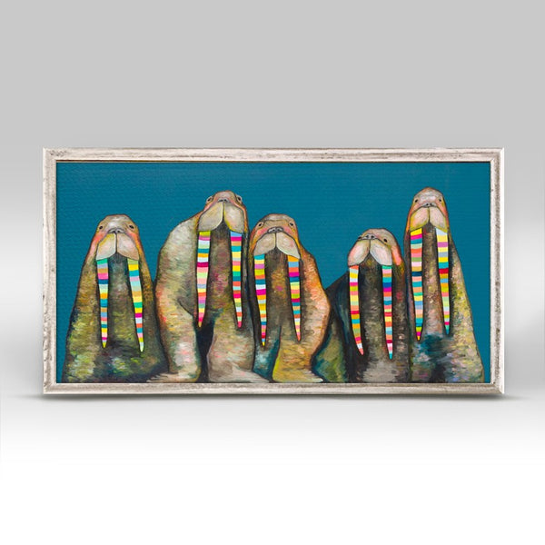 "Designer Walruses on Marine Blue Mini Print 10"" x 5"""