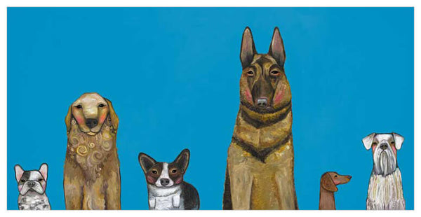 Dogs Dogs Dogs in Blue- Signed Giclée Print