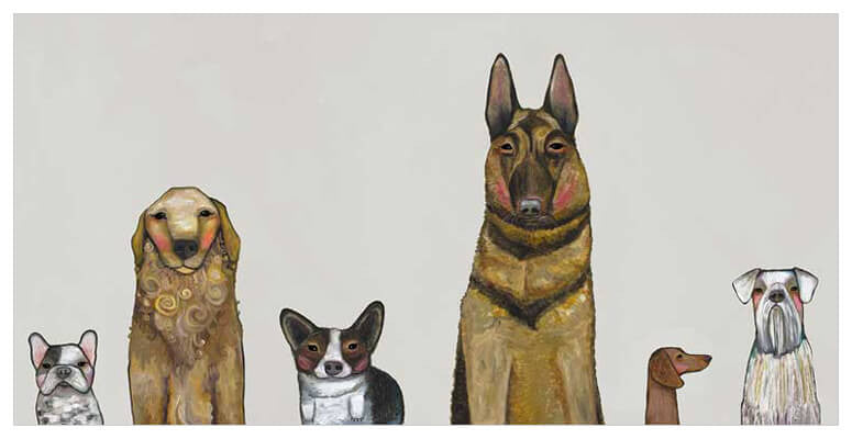 Dogs Dogs Dogs in Gray - Giclée Print