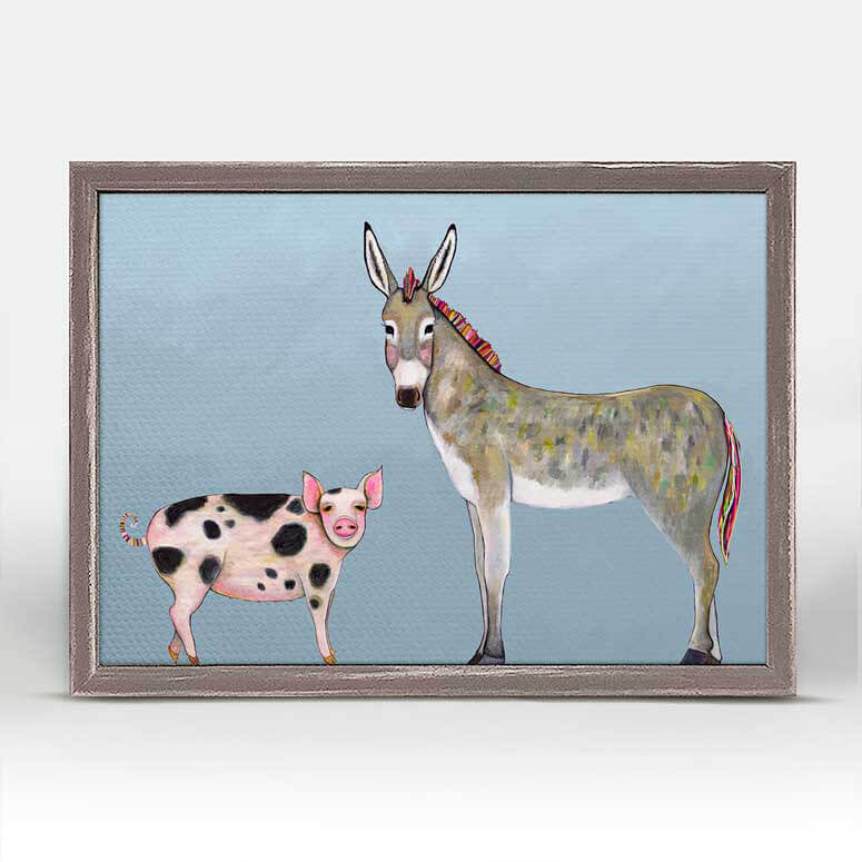 "Donkey and Pig Tails Sky Blue Mini Print 7"" x 5"""
