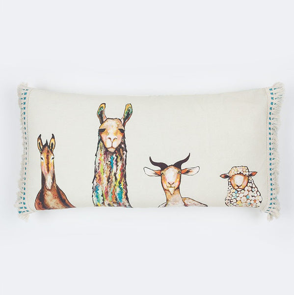 "Donkey Llama Goat Sheep - Pillow 28"" x 14"""