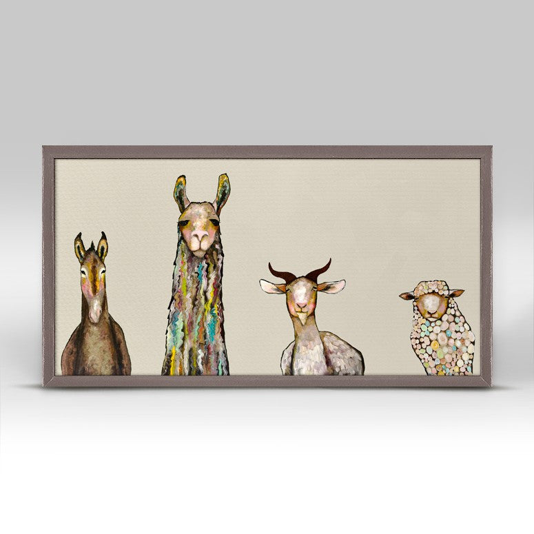 "Donkey Llama Goat Sheep on Cream Mini Print 10"" x 5"""