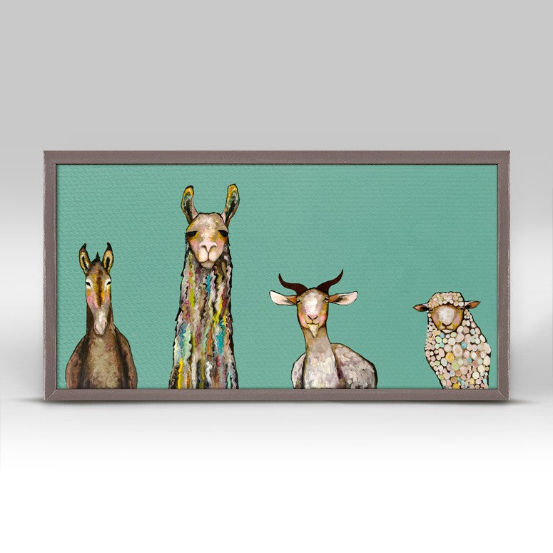 "Donkey Llama Goat Sheep on Teal Mini Print 10"" x 5"""