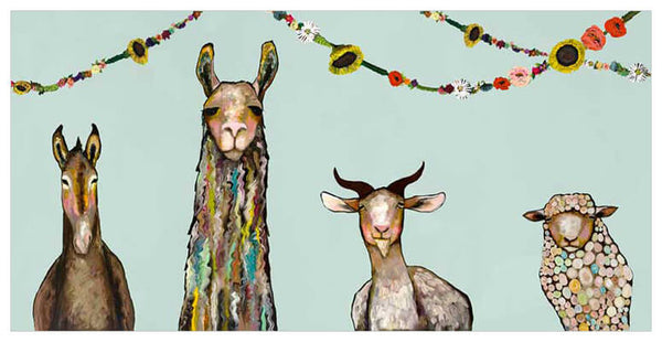 Donkey, Llama, Goat, Sheep with Garland - Giclée Print